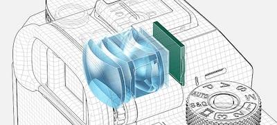 Quad-VGA OLED Tru-Finder ความสว่างสูง 3.69 ล้านจุด