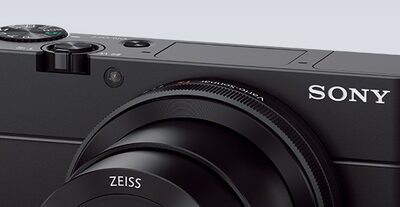 Close-up of the Sony DCS-RX100 III Cyber-shot digital camera control ring