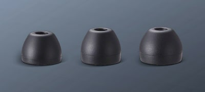 Three sizes of earbuds for comfortable listening