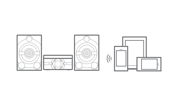 Graphic image showing MHC-M60D speaker system and connected devices