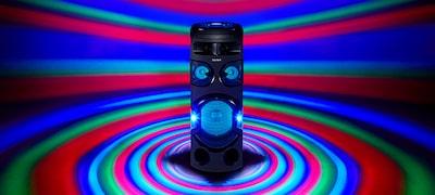 360°-os partifény és hangsugárzó-világítás