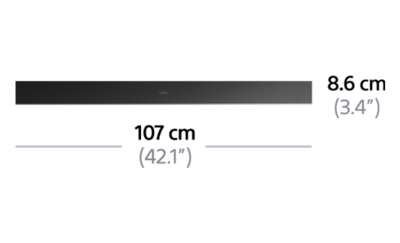 Dimensions of 2.1ch Soundbar with Wi-Fi/Bluetooth® technology