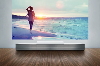 4K Ultra Short Throw Projector displaying scene on wall