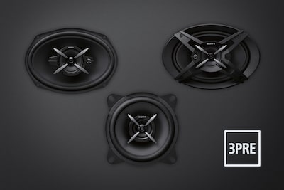 Picture of speakers and 3 pre out logo