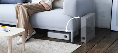 Easy placement, upright or under the sofa