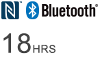 Bluetooth® logo - 18 HRS Wireless listening