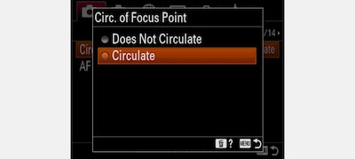 User selectable focus area circulation and customisation